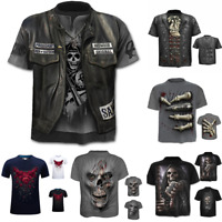 Fashion Men T-Shirt Funny Skull 3D Print T-Shirt Tops Tees Casual Short Sleeve#