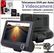 VIDEOCAMERA TRIPLA 3 CAMERA REGISTRATORE DVR PER AUTO MONITOR HD + MEMORIA 32Gb