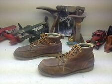 DISTRESSED FIELD & FOREST MADE USA  BROWN LEATHER ENGINEER BOSS ANKLE BOOTS 10.5
