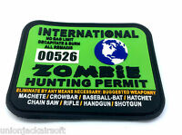 International Zombie Hunting Permit Green PVC Large Airsoft Patch