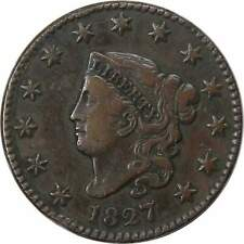 1827 1c Coronet Head Large Cent Penny Coin Vf Very Fine
