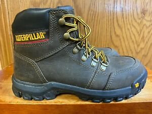EUC Caterpillar Brown Ankle Height Steel Toe Boots Men's Size 7.5