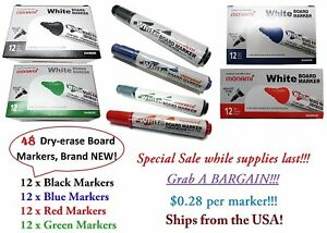 White Board Dry Erase Markers. Low Odor available in 4 Colors 12pcs each BARGAIN