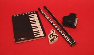 Key Board Design 5 Piece Stationery Set Music Gift School Teacher Student NEW