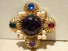 Vintage signed Lawrence VRBA HUGE gold tone pearl cross brooch pin rhinestone