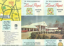 Lord Paget Motor Inn Williamsburg Virginia 1950's-1960's Brochure Photos Map