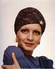 Twiggy classic 1970's fashion pose in blue dress and head scarf 8x10