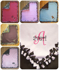 PERSONALIZED MONOGRAM CUSTOM Fleece Tie Baby Girl Boy Blanket Shower Gift Keepsa