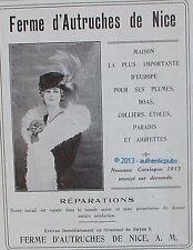 PUBLICITE FERME D'AUTRUCHES DE NICE PLUME BOA COLLIER ETOLE DE 1913 FRENCH AD