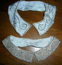 Two vintage Japan made satin bead & seed pearl collars- clean -GC