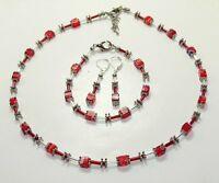 3er Schmuckset Halskette Armband Ohrringe Würfel Millefiori rot dunkelrot  254ar