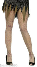 LADIES HALLOWEEN GREY ZOMBIE VEIN PANTYHOSE FANCY DRESS COSTUME TIGHTS ONE SIZE