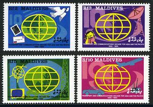 Maldives 1292-1295,Mi 1299-1302,Mnh.transportation & Communication Decade,1988