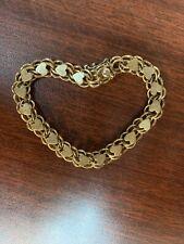 "Rare Gorgeous Vintage ELCO 12k GF Heart Charm Bracelet 7"""