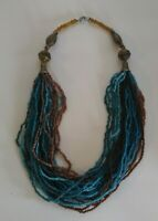 Vintage Beaded Statement Necklace Multi Strands & Colors Jewelry