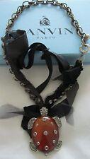 Lanvin Turtle Pendant  Antique Brass & Silver Metal  Chain-link Necklace