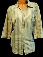 Liz & me brown orange striped 3/4 sleeve plus size button down tunic top 1X