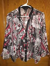 EUC INVESTMENTS Sleeveless Shell & Sheer Overshirt Top Red Black & White Size XL