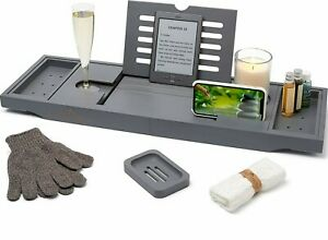 Bath Caddy with candle,wine glass,book,ipad & phone holder 100% bamboo Grey NEW