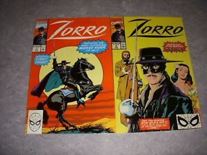 ZORRO COMIC BOOKS #1 NM- 9.2, 2 NM+ 9.6, 1990, MARVEL COMICS!