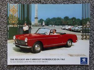 PEUGEOT 404 CABRIOLET / CONVERTIBLE PRESS PHOTOGRAPH (not brochure)