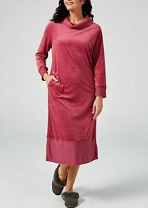 Carole Hochman Relaxed Fit Velour Lounger Dress in Mulberry, New, Size L