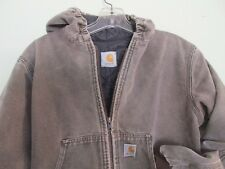Carhartt Jacket Duck Cotton Insulated Brown Boy's Quilt Lined Coat Hooded L/XL