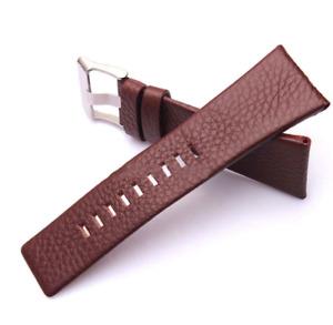 24mm Brown Leather Lychee Strap For Diesel DZ7313 DZ7322 DZ7257 Watch L161