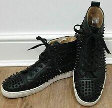CHRISTIAN LOUBOUTIN Menswear Black Leather Spike Hi-Top Sneakers Trainers 44