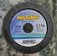 Maxima Tuna Blue Fishing Line 6 Lb Test 3300 Yard Service Spool Germany New!