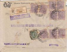 50 cent violetto+25 cent floreale(200+225a)Raccomandata Bologna->Modena 2.2.1928