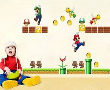 NEW Cartoon Super Mario Bros Removable HUGE Wall Stickers Decal Kids Home Decor