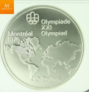 CANADA MONTREAL OLYMPICS 1974 SILVER 10 DOLLAR WORLD MAP REVERSE OF 1973 MULE N