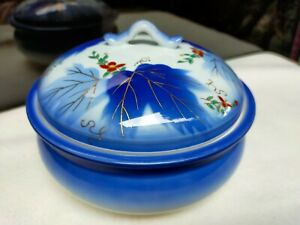 Signed JAPAN Imari Oriental Floral Design Blue Footed Bowl Trinket with Cover