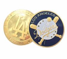 2 pcs Los Angeles Dodgers Gold Challenge Medal Coins Baseball League Souvenir
