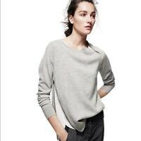 J. Crew Merino Wool Asymmetrical Zipper Sweater Small Gray