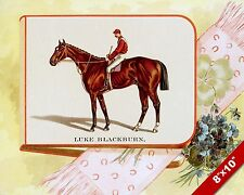 VINTAGE 1900'S BLACKBURN HORSE JOCKEY RACE RACING ART PAINTING REAL CANVAS PRINT
