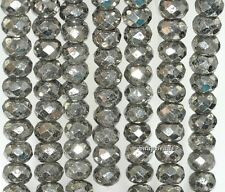 """10X6MM IRON PYRITE GEMSTONE  FACETED RONDELLE 10X6MM LOOSE BEADS 7.5"""""""