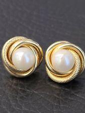 14k Gold Pearl Knott Earing Studs