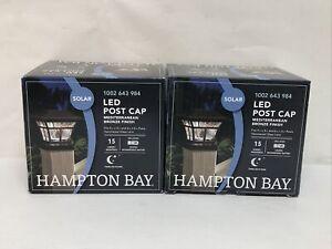 Lot Of (2) Hampton Bay Solar LED Post Cap Mediterranean Bronze 1002 643 984