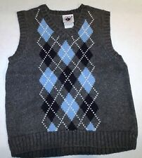Good Lad Gray Navy Blue White Argyle Preppy Sweater Vest Size 6 C-2