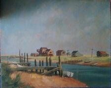 Unframed Oil on Board Signed G E Spotswood. An Estuary Scene with Buildings