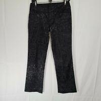 Morrissey Black Vintage Damask Style Pattern Size 0 Dress Pants