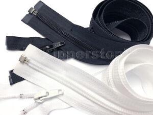 "YKK #5 Nylon Coil Jacket Zipper Separating Black or White 7"" - 48"" Made in USA"