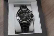 Michael Hill Chronograph Watch w/ 1/2 Carat TW Of Diamonds In Black Ceramic & SS