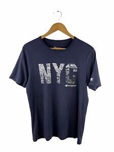 Champion Short Sleeve T Shirt Mens Size M Blue Crew Neck Graphic Logo Casual