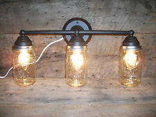 Mason Jar Light 3-Light Rubbed Bronze Vanity Light with Authentic Ball Mason Jar