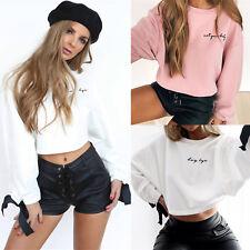 UK Women Hoodies Letter Sweatshirt Long Sleeve Crop Jumper Sweater Pullover Tops