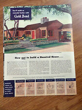 1946 Gold Bond Building Material Gypsum Ad  How Not to Build Haunted House