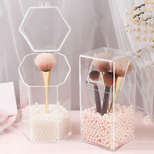 Clear Acrylic Makeup Brush Holder With Lid Dustproof Organizer Storage Case 1Pcs